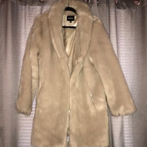 Faux Fur Two Button Collared Coat